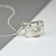 Silver camera necklace